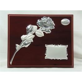 Placa conmemorativa  rosa tallo plata bilaminada